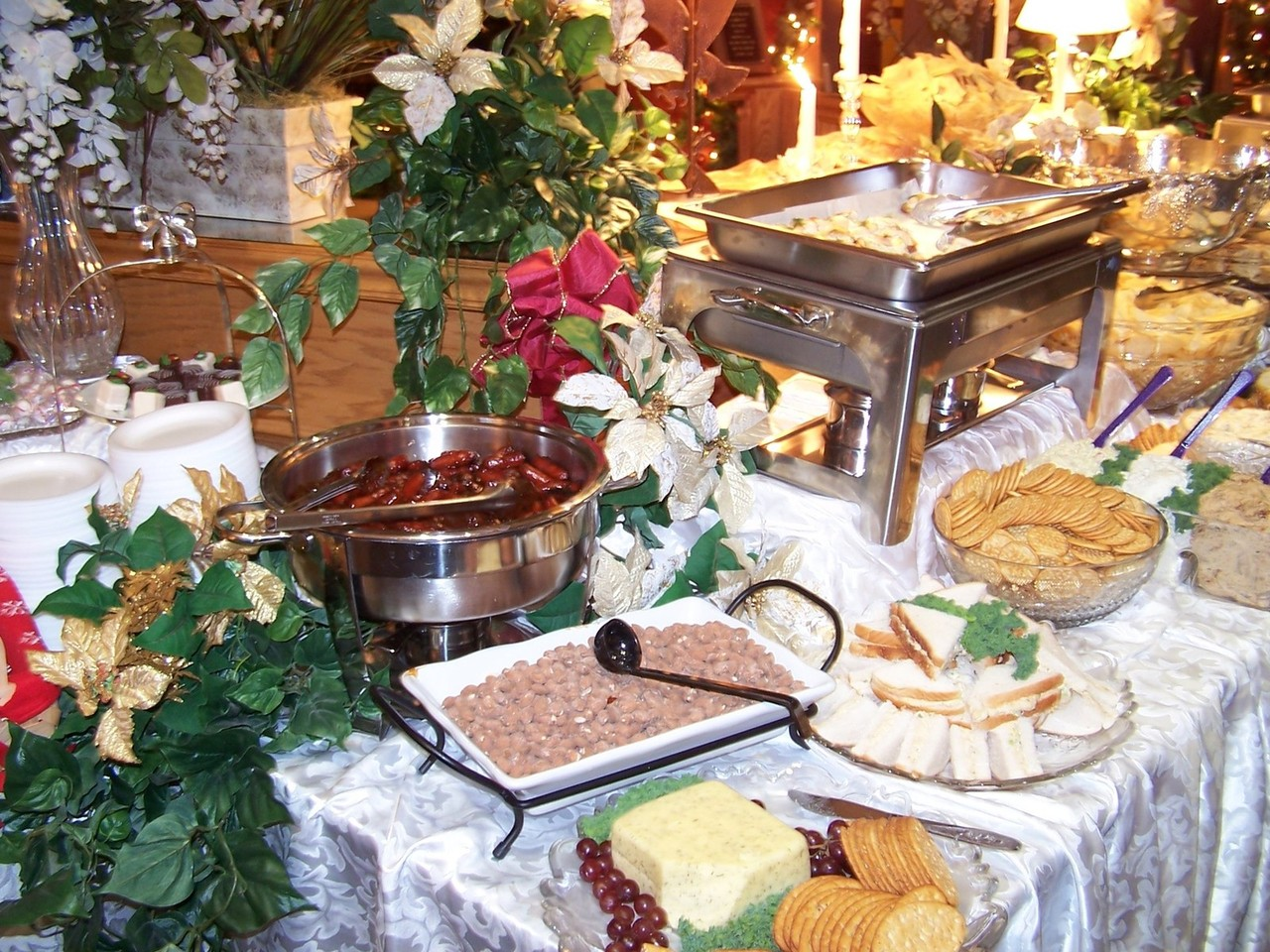 Flowers for a buffet table decor