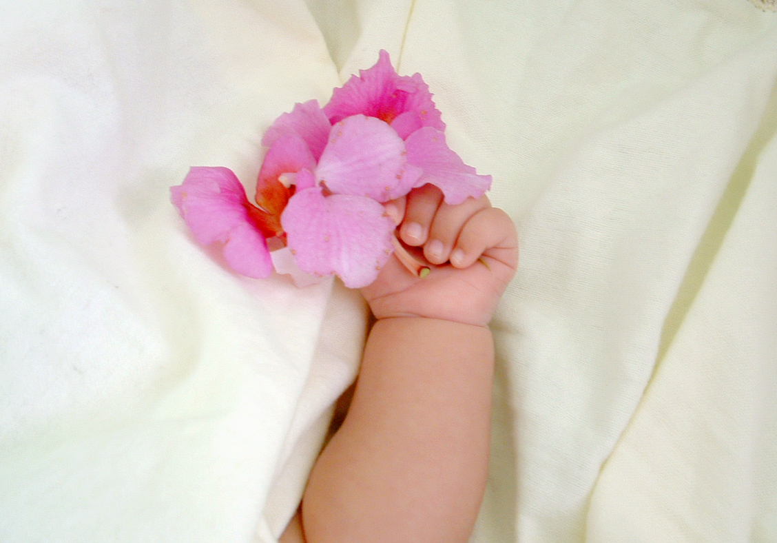 Silk flowers to welcome baby
