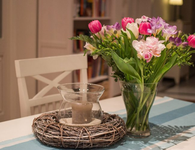 Safely display flowers and candles together