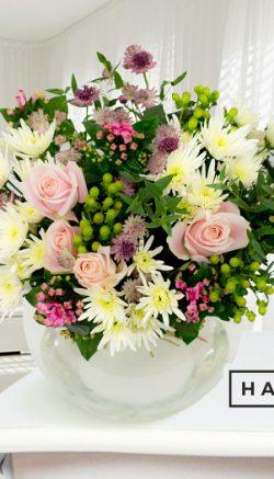 Bowl vase flower arrangement